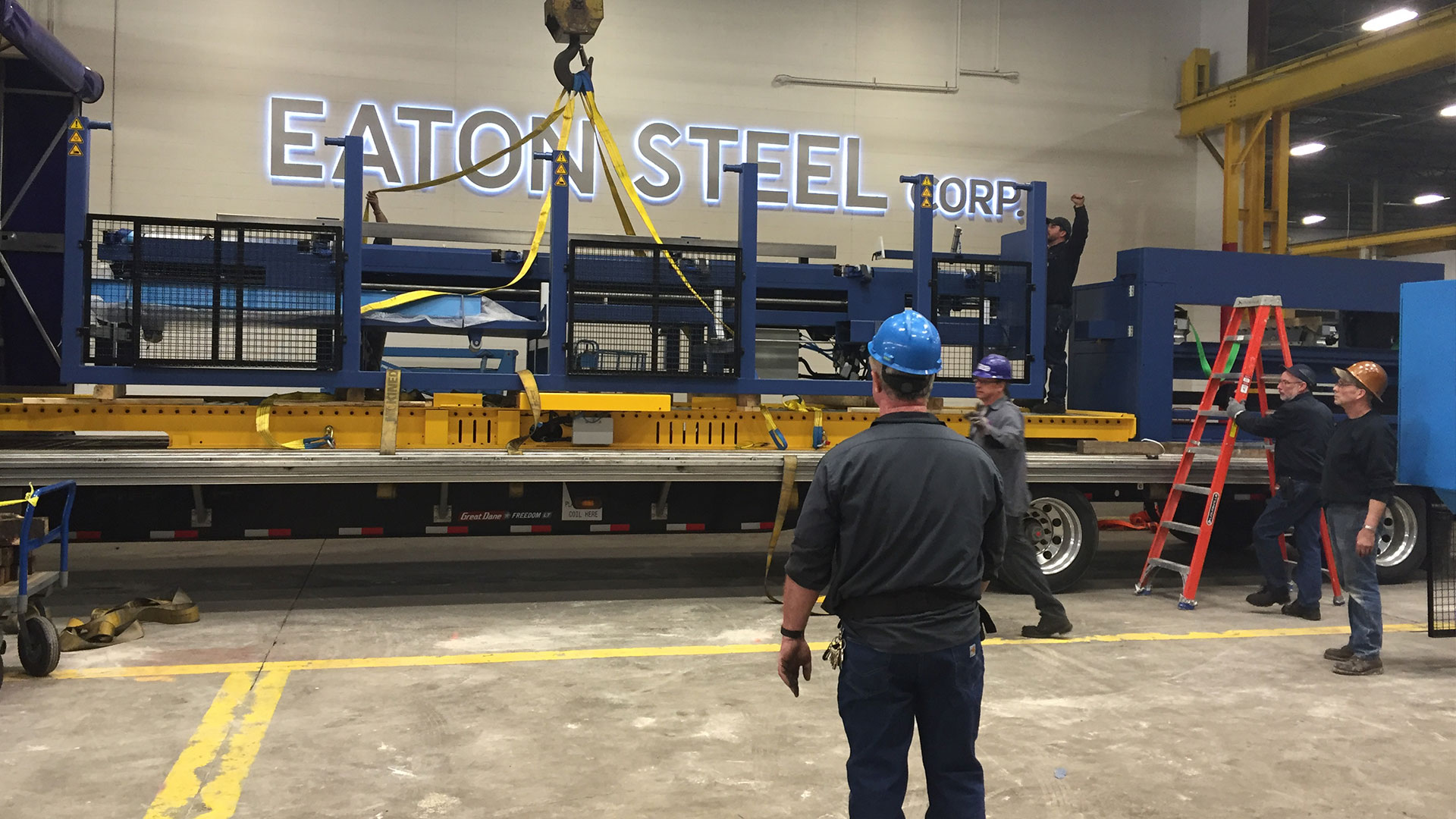 Image of ADICA Trucking working with Eaton Steel.