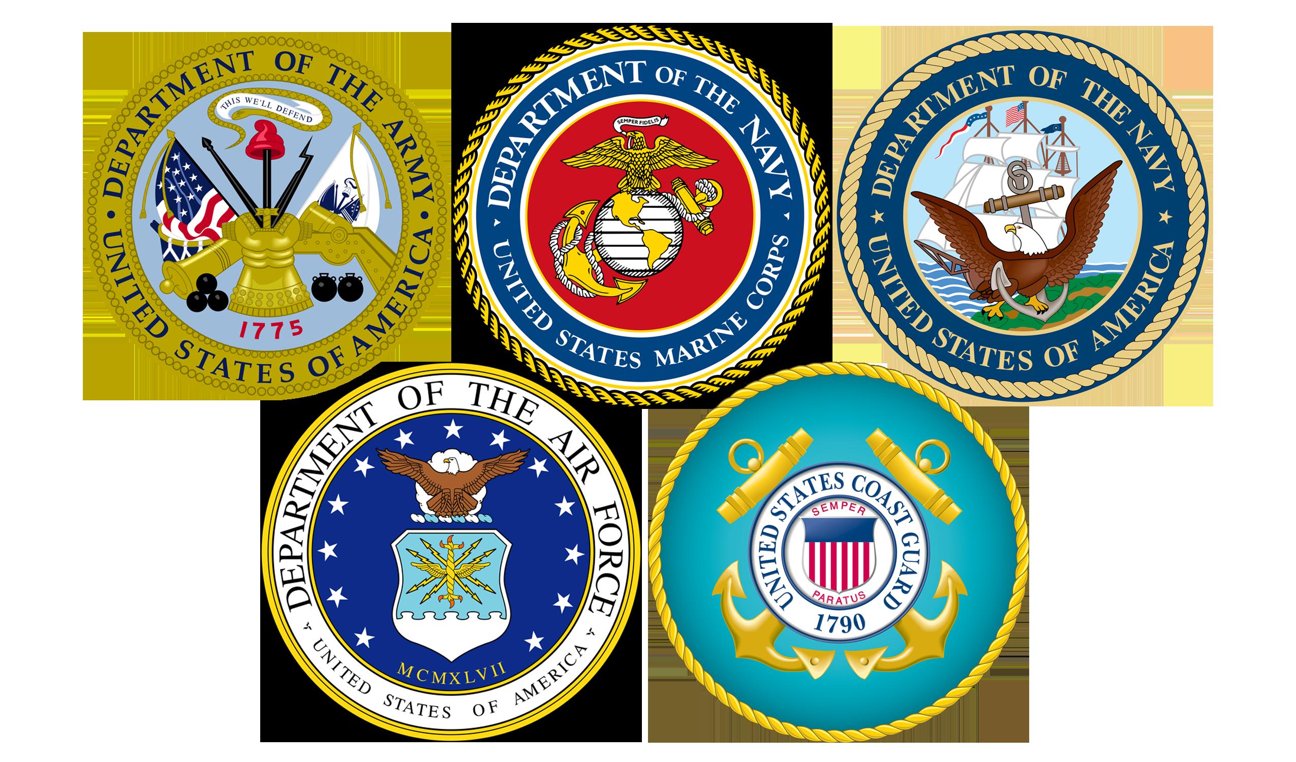 Military emblems implying veteran friendly trucking company.